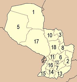 Departamentos und Hauptstädte in Paraguay